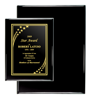 "Black Piano Finish Plaque (10"" x 13"") 