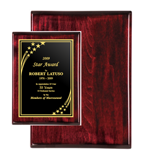 "9"" x 12"" Rosewood Piano Finish Plaque 
