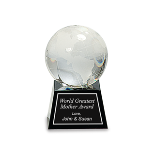 "Picture of 3"" Crystal Globe on Black Base"