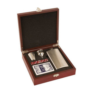 Picture of Rosewood Finish Flask Gift Set